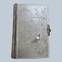 Antique Victorian Celluloid Prayer Book Mother Of Pearl Embellishments