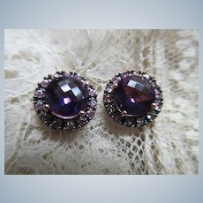 Vintage 14K Rose Gold Faceted Amethyst Pierced Earrings
