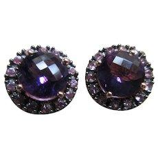 Vintage 14K Rose Gold Faceted Amethyst Pierced Earrings