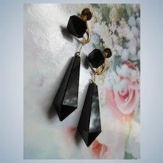 Vintage Circa 1920 10K Black Onyx Drop Screw Back Earrings