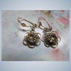 Vintage 10K Gold Paste Earrings