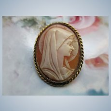 Vintage Carved Shell Blessed Mother Cameo