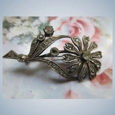 Vintage circa 1920 Silver Paste Flower Pin