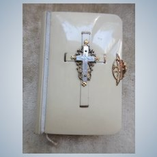 1909 Prayer Book Mother of Pearl Cross