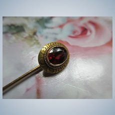 Antique 10K Garnet Stick Pin