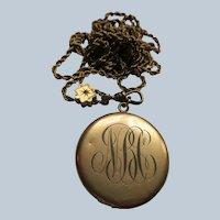Antique Ladies Watch Chain Diamond Slide Monogrammed Locket