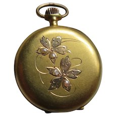 Antique 12K Seed Pearl Ladies Pocket Watch