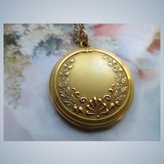 Antique Long Locket Necklace in Gold Fill