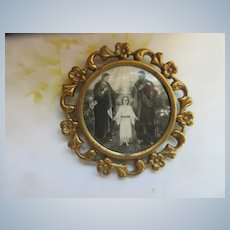 Antique Religious Framed Photo Pin Jesus Mary and Joseph