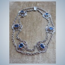 Vintage Blue Stone Choker Necklace
