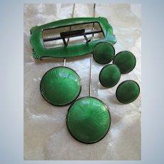 Antique Circa 1910 Boxed Hat Pin Set Guilloche Enamel English Hallmarks