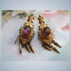 Victorian Long Dangle Pierced Earrings in Gold Fill