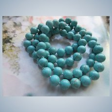 Vintage Turquoise Colored Beaded Necklace 585 Gold Clasp