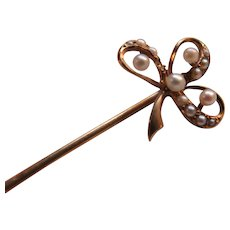 Antique 10K Seed Pearl Clover Stick Pin Lapel Pin