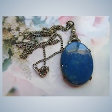 Vintage Sterling Deco Lapis Necklace