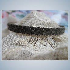 Vintage Sterling Floral Bangle Bracelet