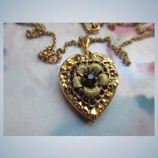 Vintage Floral Heart Locket Necklace In Gold Fill