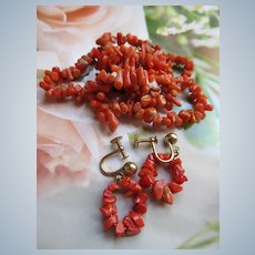 Vintage Natural Coral Branch Necklace Screw Back Earrings
