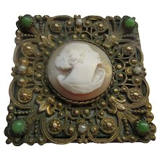 French Vintage Cameo Pill Box Compact