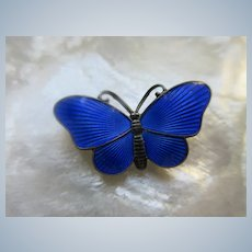 Vintage Enameled Sterling Norway Butterfly Pin
