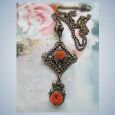 Vintage circa 1930 Natural Coral Roses Lavaliere Necklace