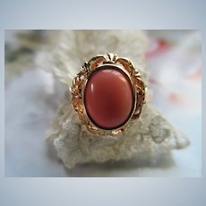 Vintage 14K Angel Skin Cooral Ring