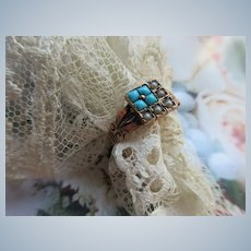Victorian 10K Persian Turquoise Seed Pearl Ring