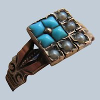 Victorian 10K  Turquoise Seed Pearl Ring