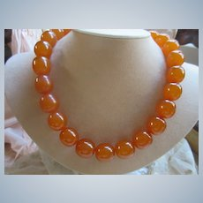 Vintage Amber Necklace Barrel Clasp