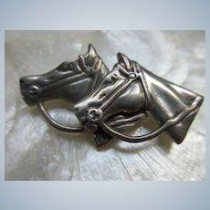 Vintage Sterling Double Horse Brooch