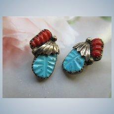 Vintage Zuni Sterling Clip On Earrings