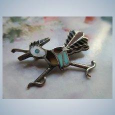 Vintage Zuni Sterling Road Runner Pin