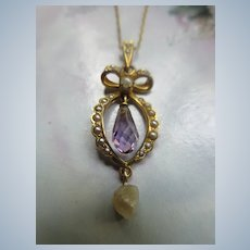 Edwardian Antique 10K Amethyst Briolette Necklace