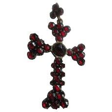 Antique Bohemian Garnet Cross Pendant
