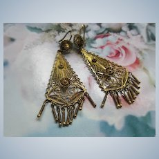 Vintage 800 Silver Filigree Long Drop Pierced Earrings