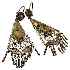 Vintage 800 Silver Filigree Long Drop Pierced Earrings