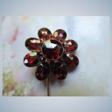 Antique Gold Bohemian Garnet Stick Pin