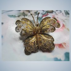Vintage 800 Silver Gilt Filigree Butterfly Pin
