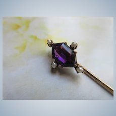Antique 10K Amethyst and Seed Pearl Stick Pin Lapel Pin