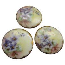Victorian Hand Painted Porcelain Buttons Violets