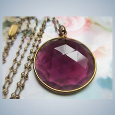 Vintage Faceted Purple Glass Pendant Necklace
