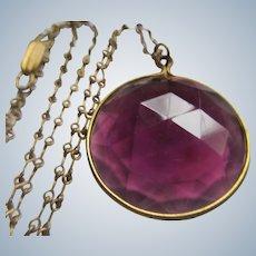 Vintage Faceted Purple Glass Pendant Necklace