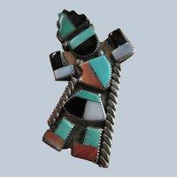 Vintage Sterling Zuni Native American Dancer Pin