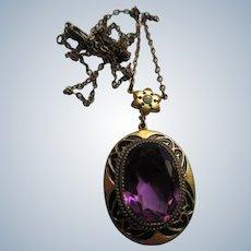 Vintage 30s 40s Faceted Glass Lavaliere Necklace