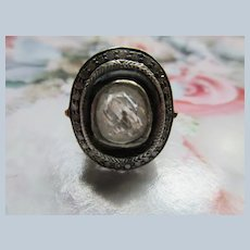 Gold and Silver Circa 1930 2.5 Ct. Topaz and Diamond Ring