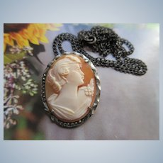 Vintage 800 Silver Carved Shell Cameo Necklace