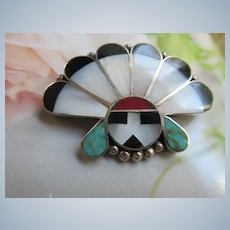 Native American Zuni Sunface Pin