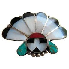 Native American Zuni Sunface Pin