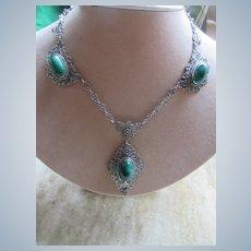 Vintage Spun Silver Lavaliere Necklace