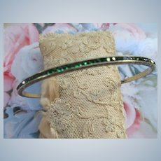 Vintage Deco Sterling Channel Set Green Crystal Bangle Bracelet